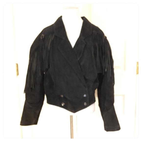 Vintage leather Learsi fringe jacket.